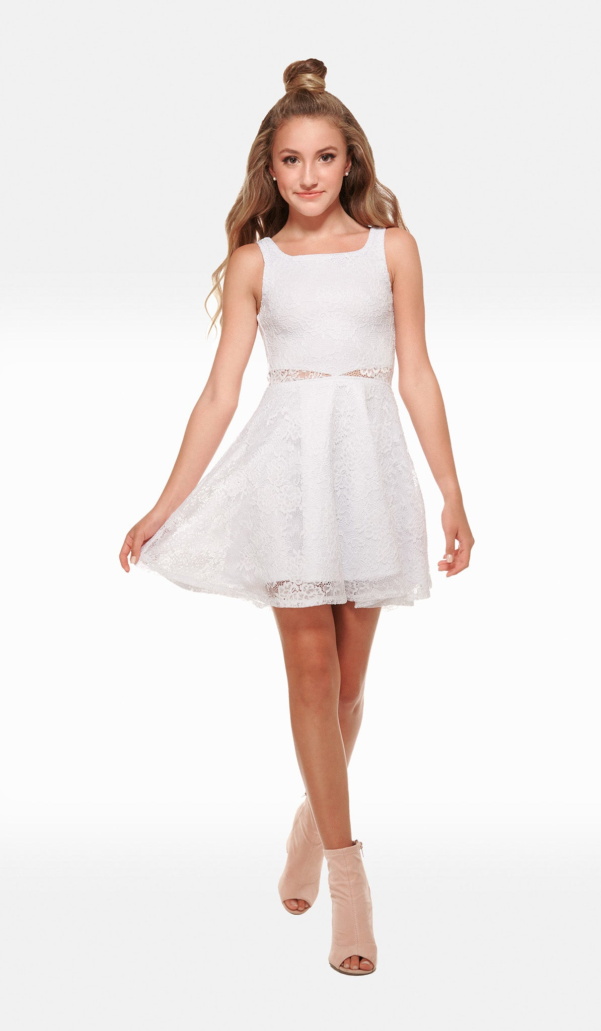 The Sally Miller Rene Dress - White stretch crochet lace fit and flare dress with illusion waist