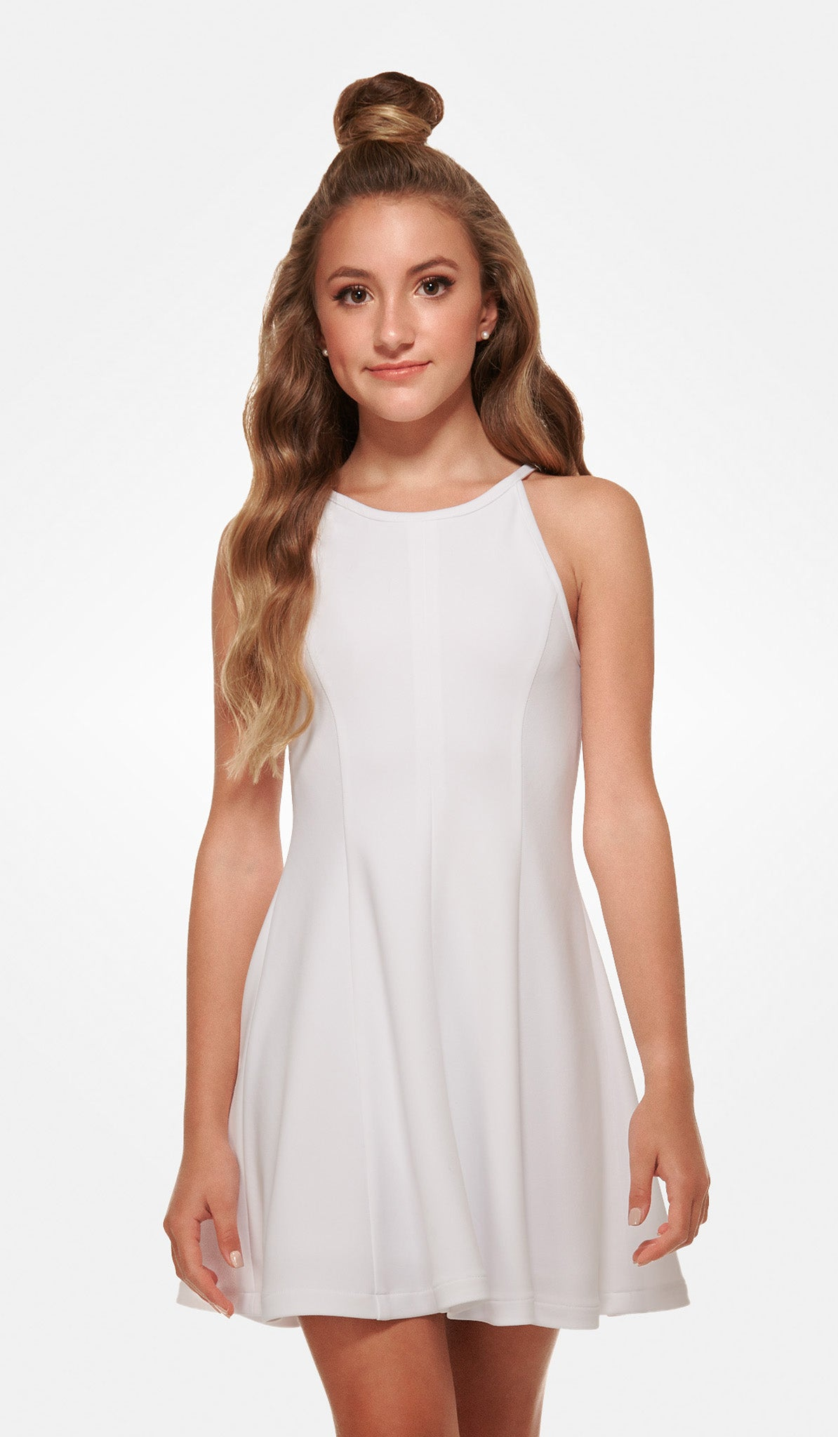 The Sally Miller Serena Dress - White textured stretch knit fit and flare dress with zipper at back