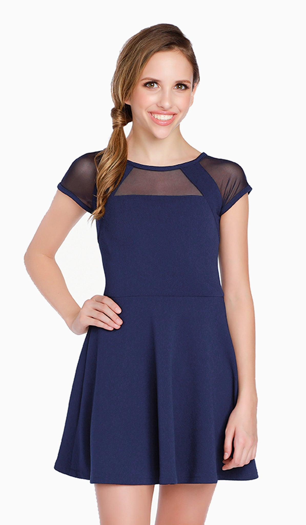 525c4fd6abdb8 The Sally Miller Shea Dress - Navy textured stretch knit fit and flare dress  with mesh