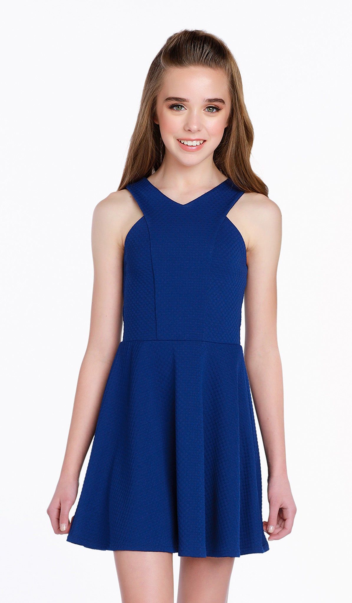 3d25789140a43 The Sally Miller Shelby Dress -Sapphire mini embossed checker texture  stretch knit fit and flare
