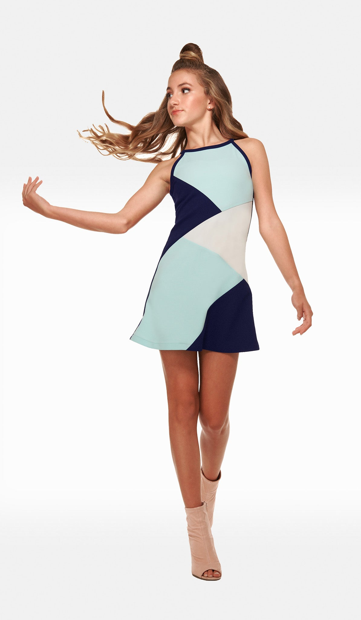 The Sally Miller South Beach Dress - Modern Multi color block stretch crepe georgette dress with button