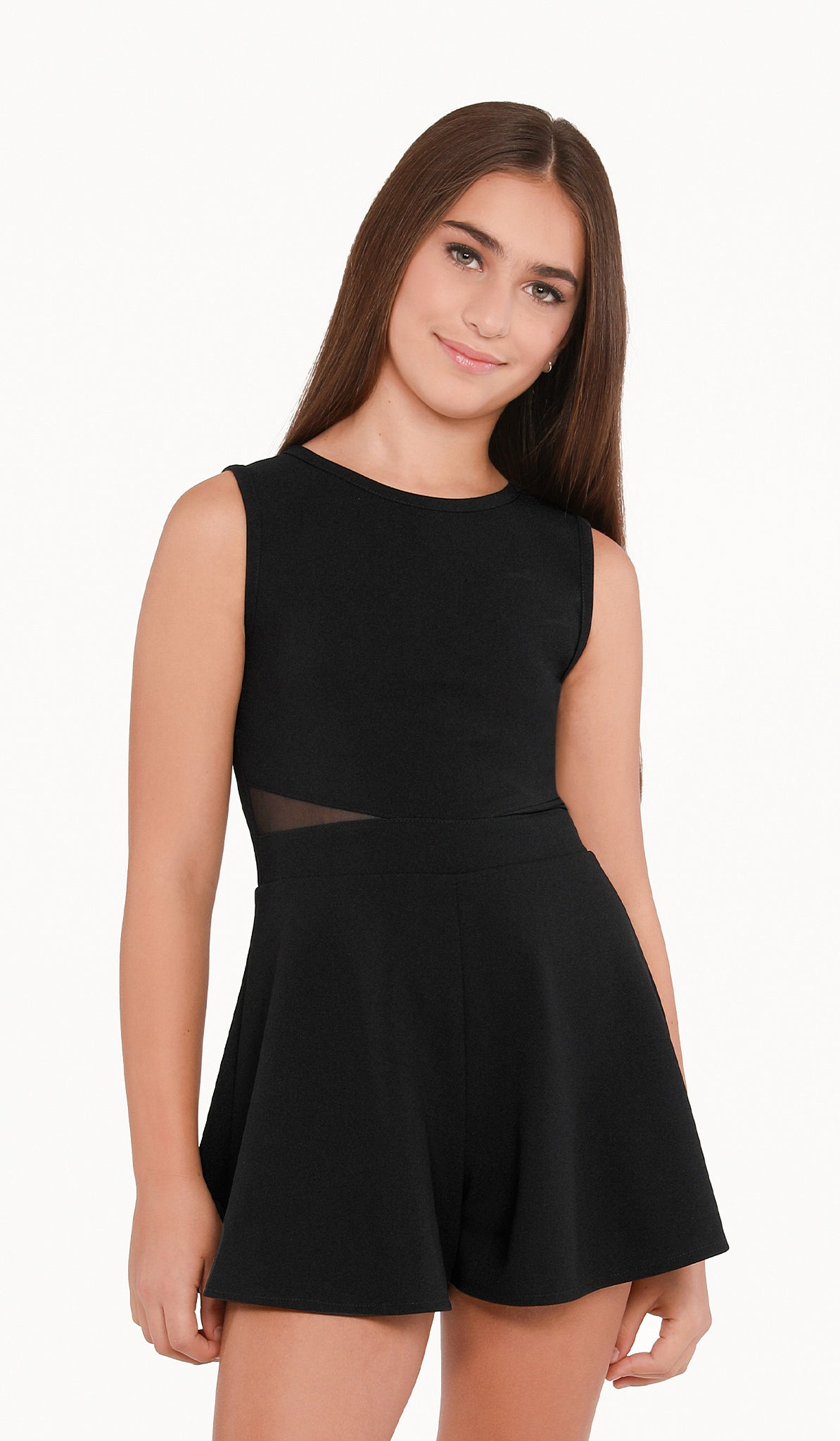 The Sally Miller Serena Romper - Black stretch textured knit romper with illusion mesh waist inserts and zipper at back