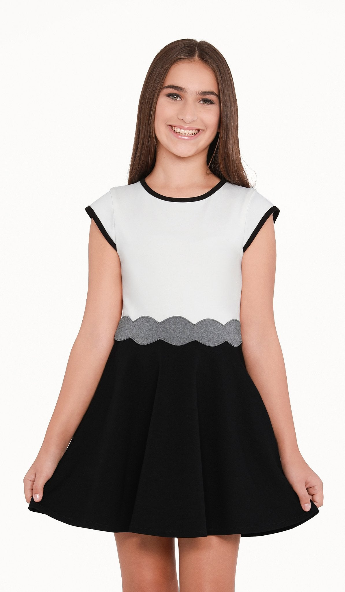 Sally Miller - The Shelby Dress - Ivory and black super ponti stretch knit cap sleeve fit and flare dress with waist trim detail
