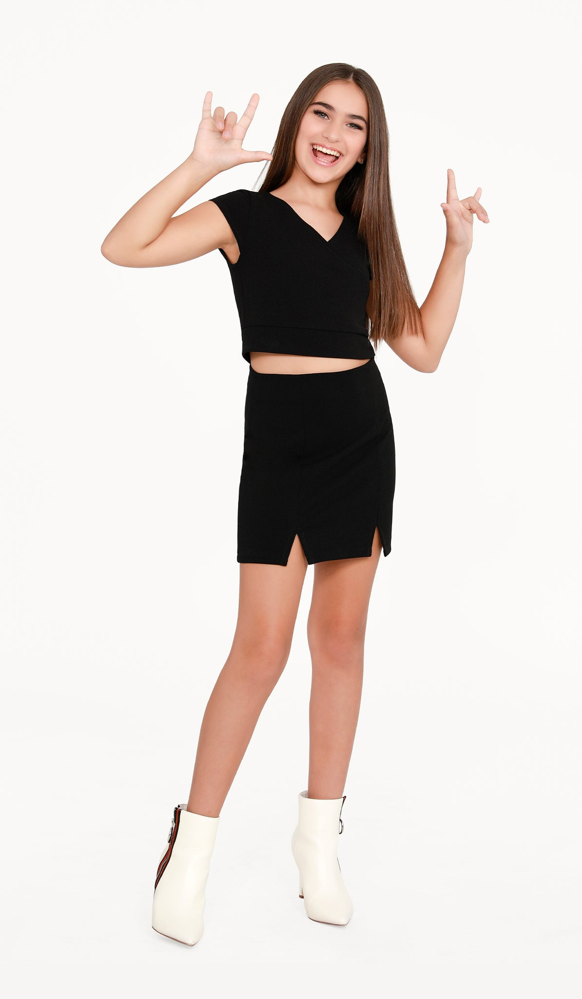 The Sally Miller Double Slit Skirt - Black stretch knit straight skirt with double slits and side zipper
