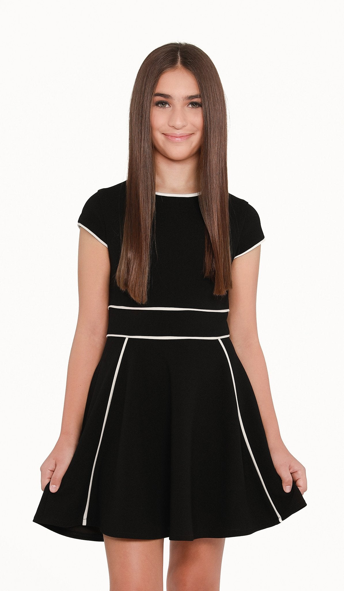 The Sally Miller Tiffany Dress - Black stretch knit cap sleeve fit and flare dress with ivory piping detail