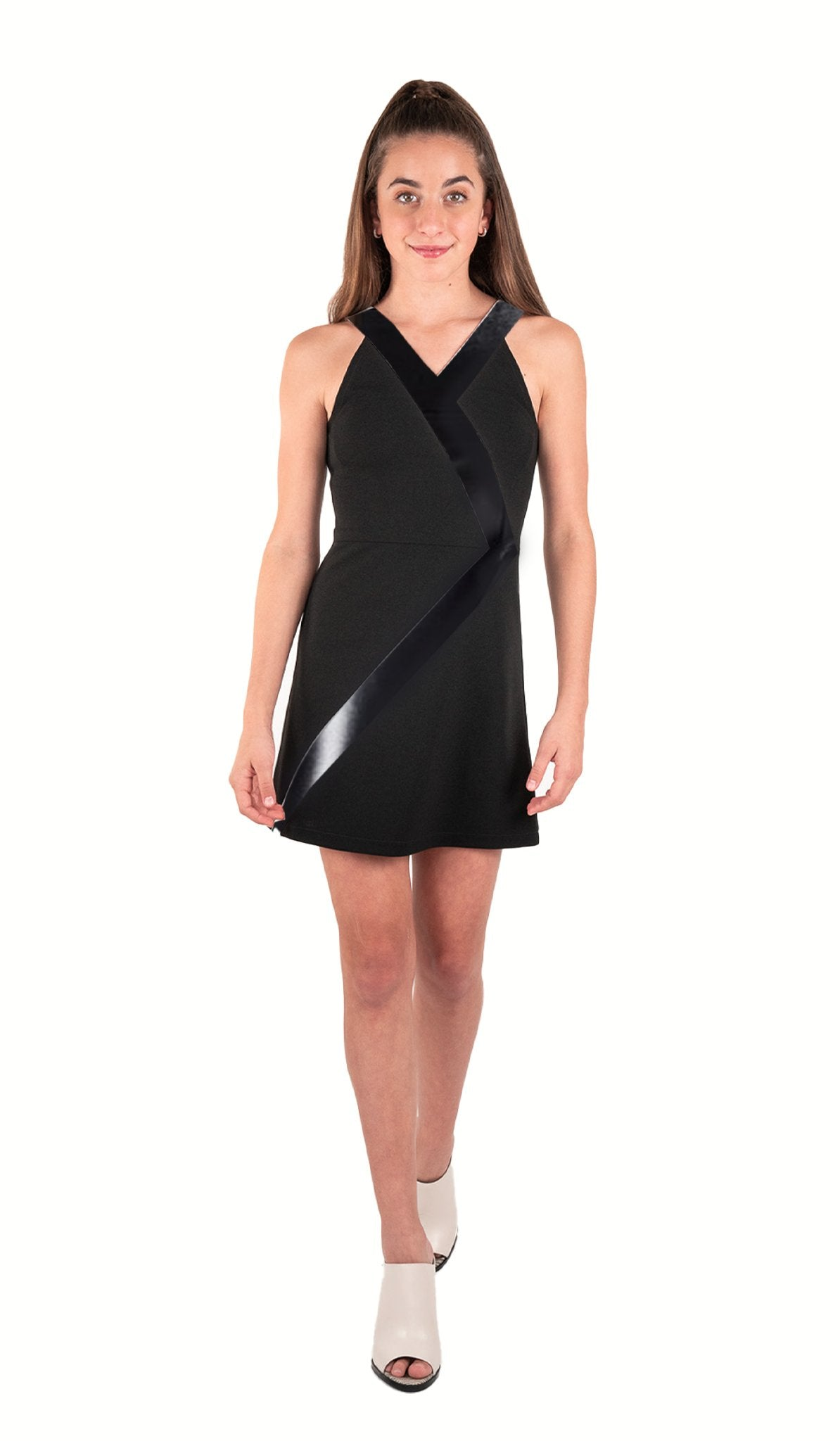 The Tuxedo Dress - Black stretch knit A-line dress with vegan leather trim detail