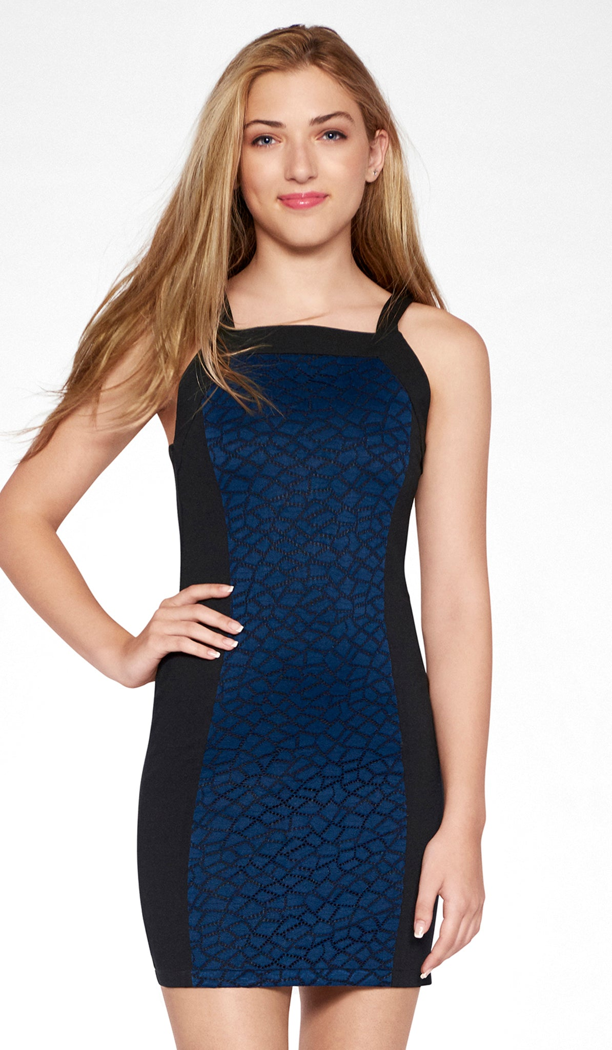 Sally Miller junior black special occasion dress with navy crochet lace mid view