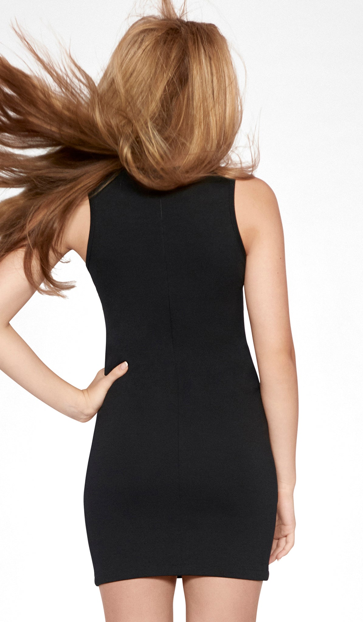 Sally Miller black combo colorblock bodycon dress back view