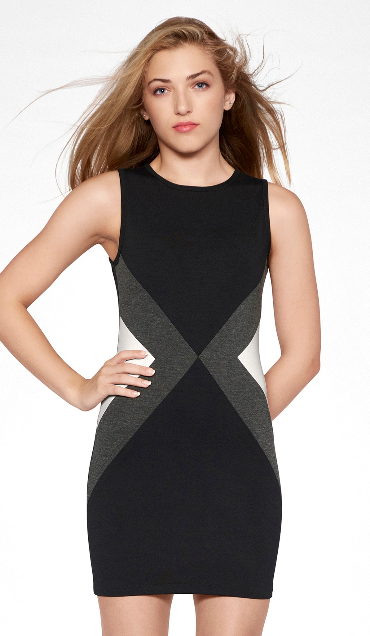 Sally Miller black combo colorblock bodycon dress front view