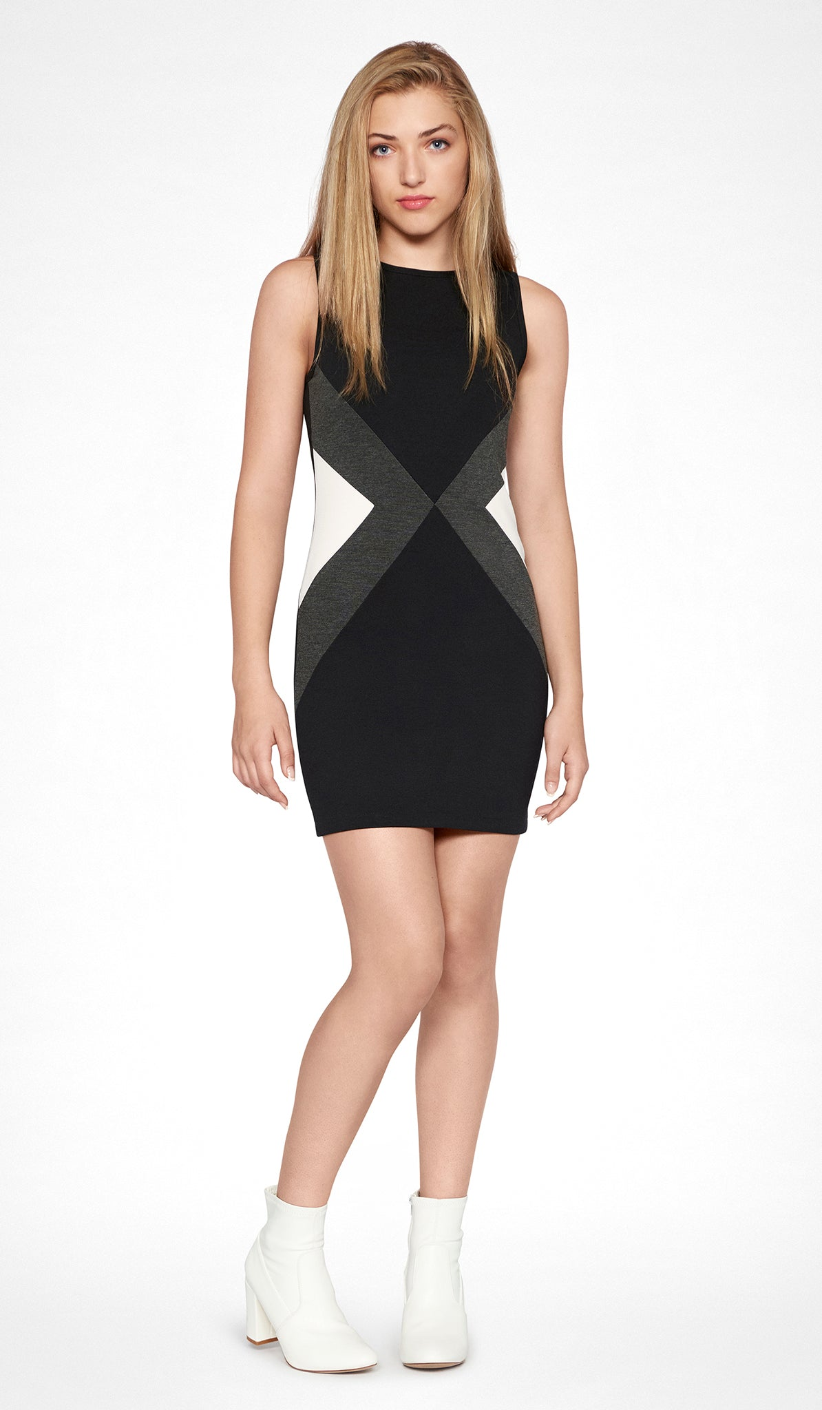 Sally Miller black combo colorblock bodycon dress mid view