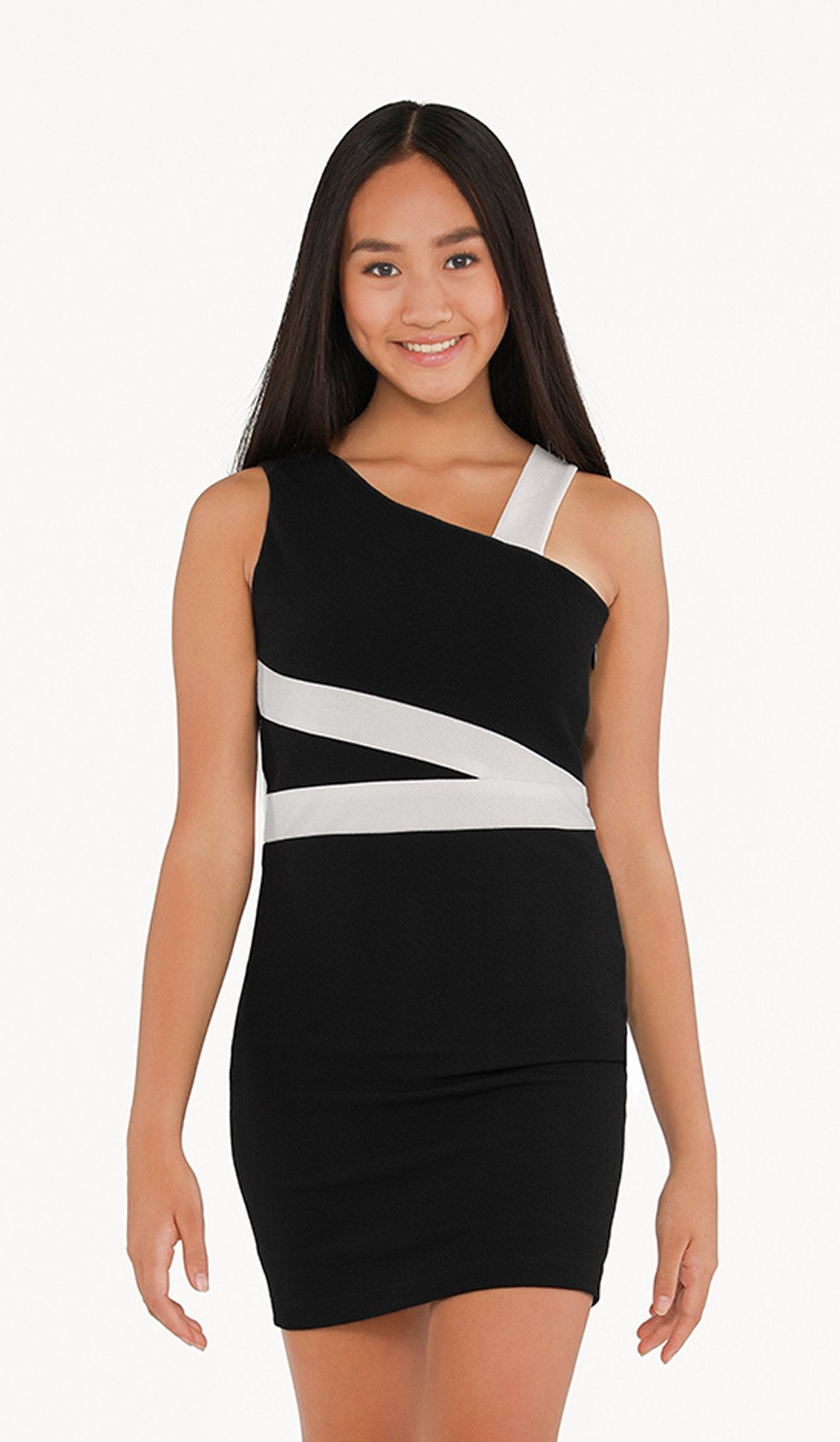 The Sally Miller Melissa Dress (Juniors) - Black stretch textured knit bodycon dress with ivory trim detail and side zipper  | Event & Party Dresses for Tween Girls & Juniors | Weddings Dresses, Bat Mitzvah Dresses, Sweet Sixteen Dresses, Graduation Dresses, Birthday Party Dresses, Bar Mitzvah Dresses, Cotillion Dresses