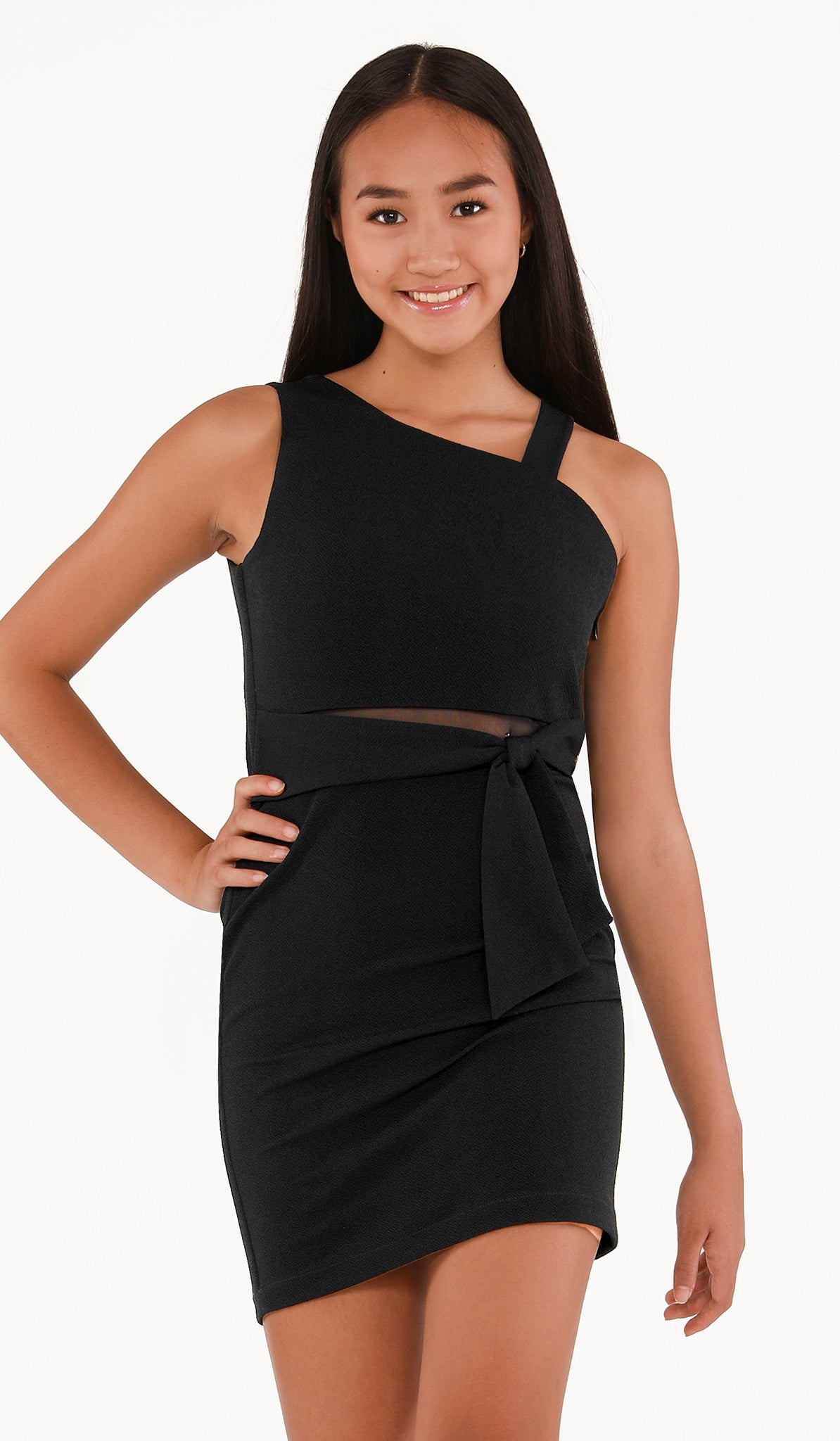 The Sally Miller Devin Dress | Black textured stretch knit bodycon dress with mesh illusion and ties at waist