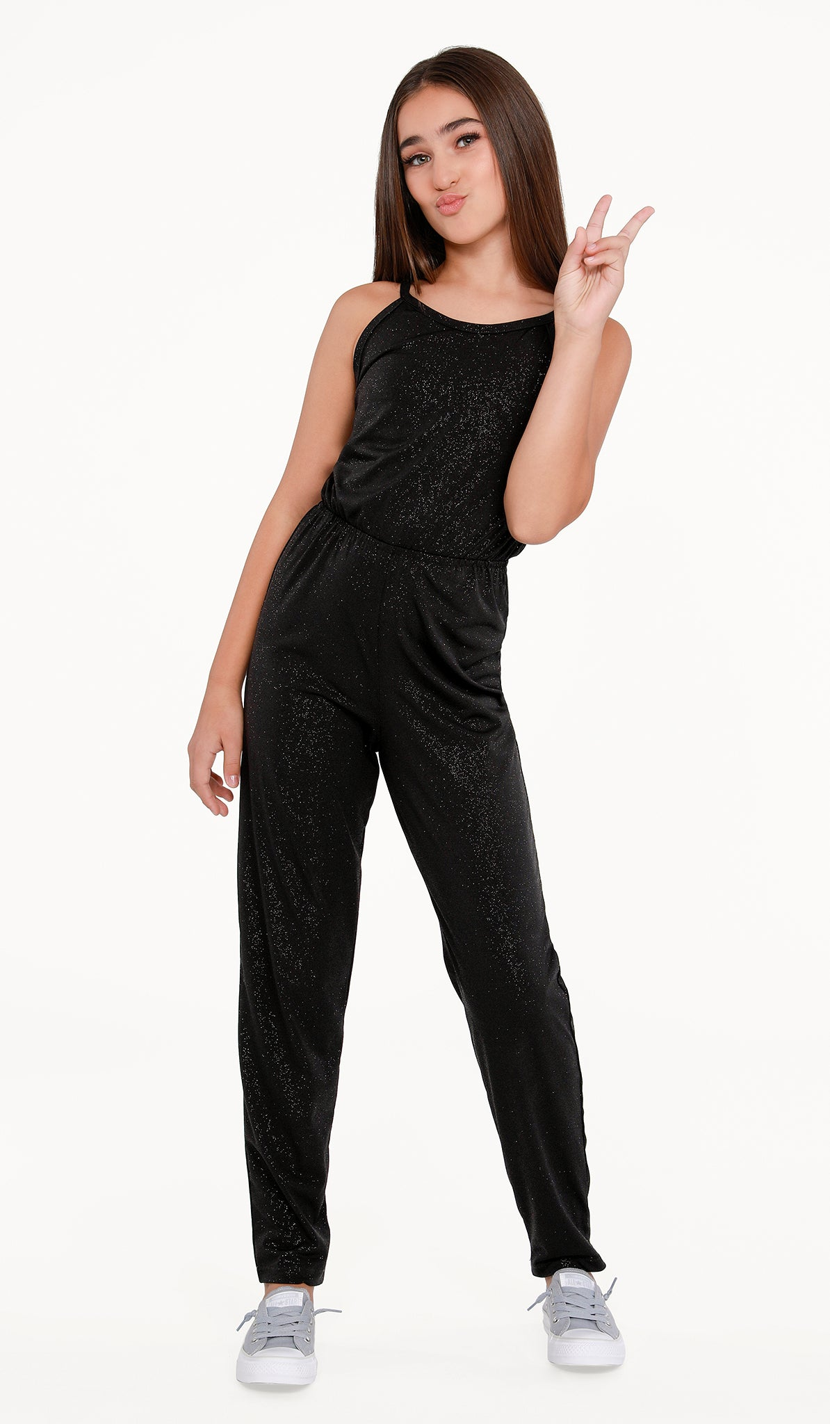 Sally Miller Eve Jumpsuit - Black sparkle stretch knit jumpsuit with elastic waist