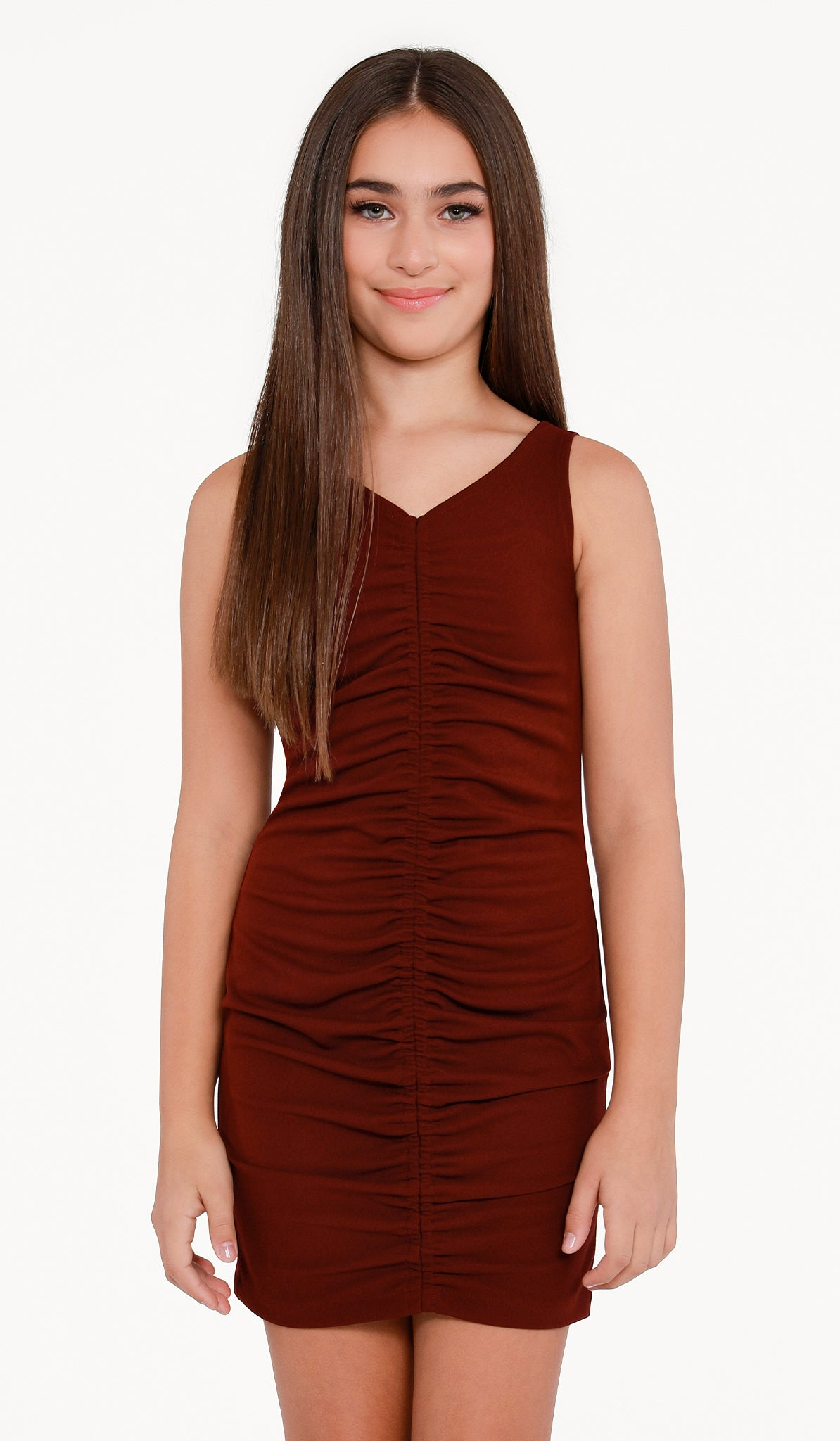 The Sally Miller Deb Dress | Bordeaux stretch crepe georgette body con dress with center front rouching