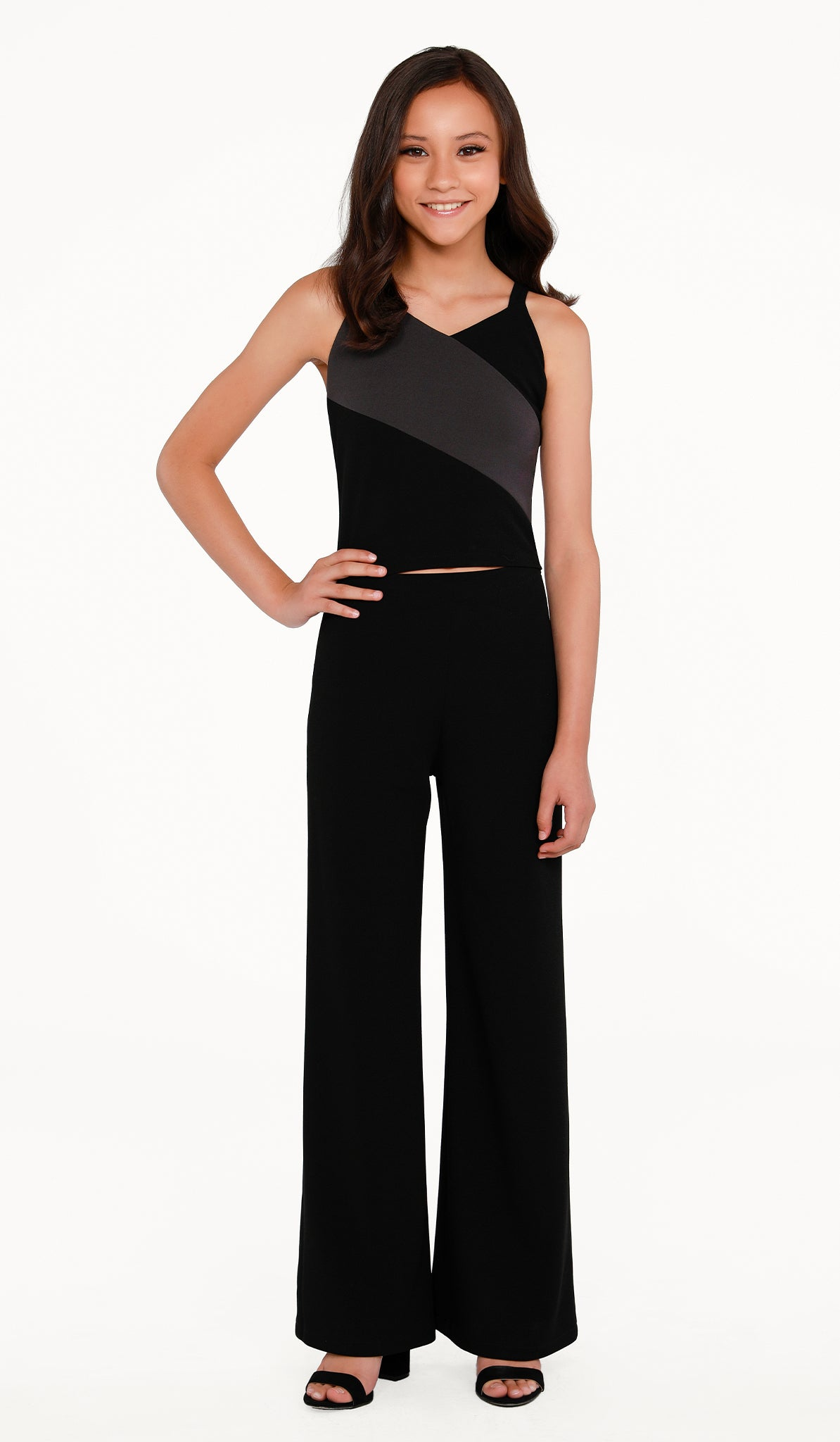 The Sally Miller Diagonal Top Pant Set | Black stretch crepe pant set with color block top