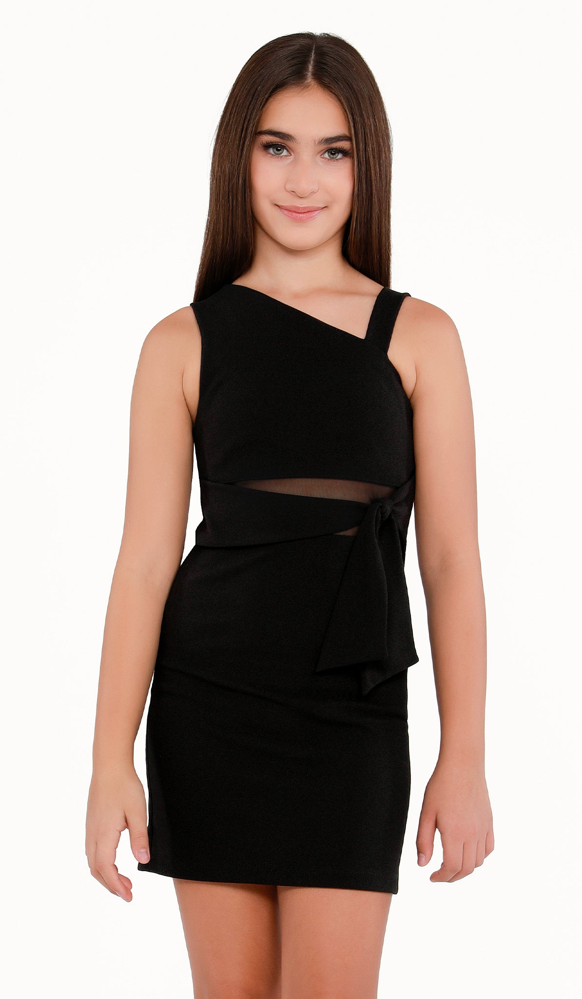 Sally Miller Devin Dress | Black stretch crepe georgette bodycon dress with mesh illusion and ties at waist