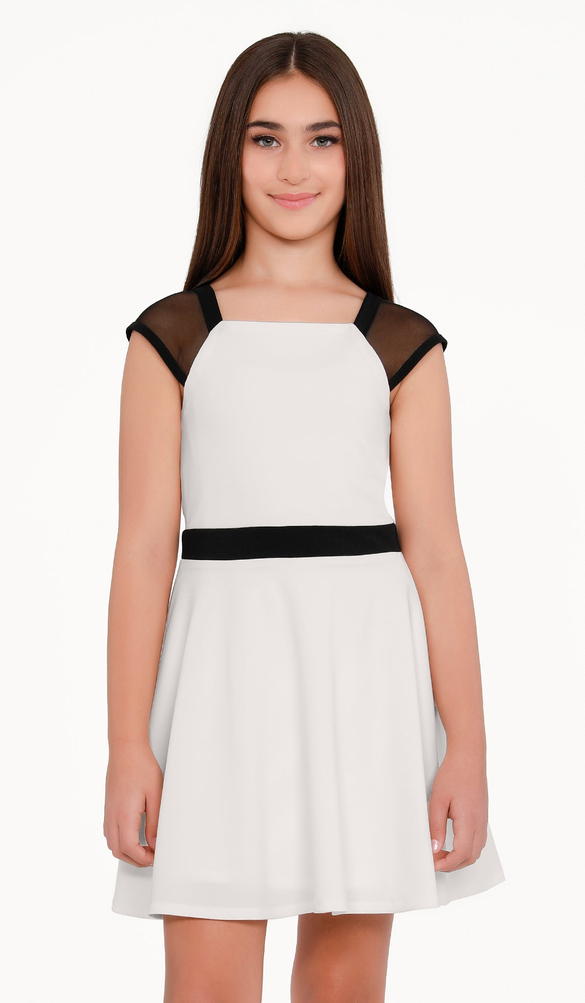 The Sally Miller York Dress | Ivory stretch crepe georgette fit and flare dress fully lined with black trim and illusion mesh cap sleeve