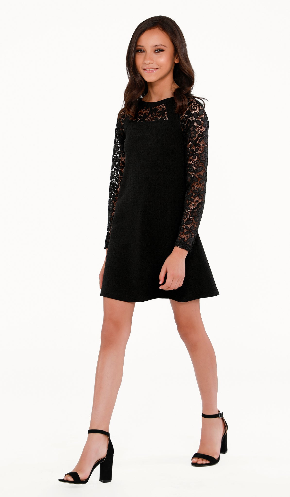 The Sally Miller Alexis Dress | Black textured stretch knit shift dress with long lace sleeve