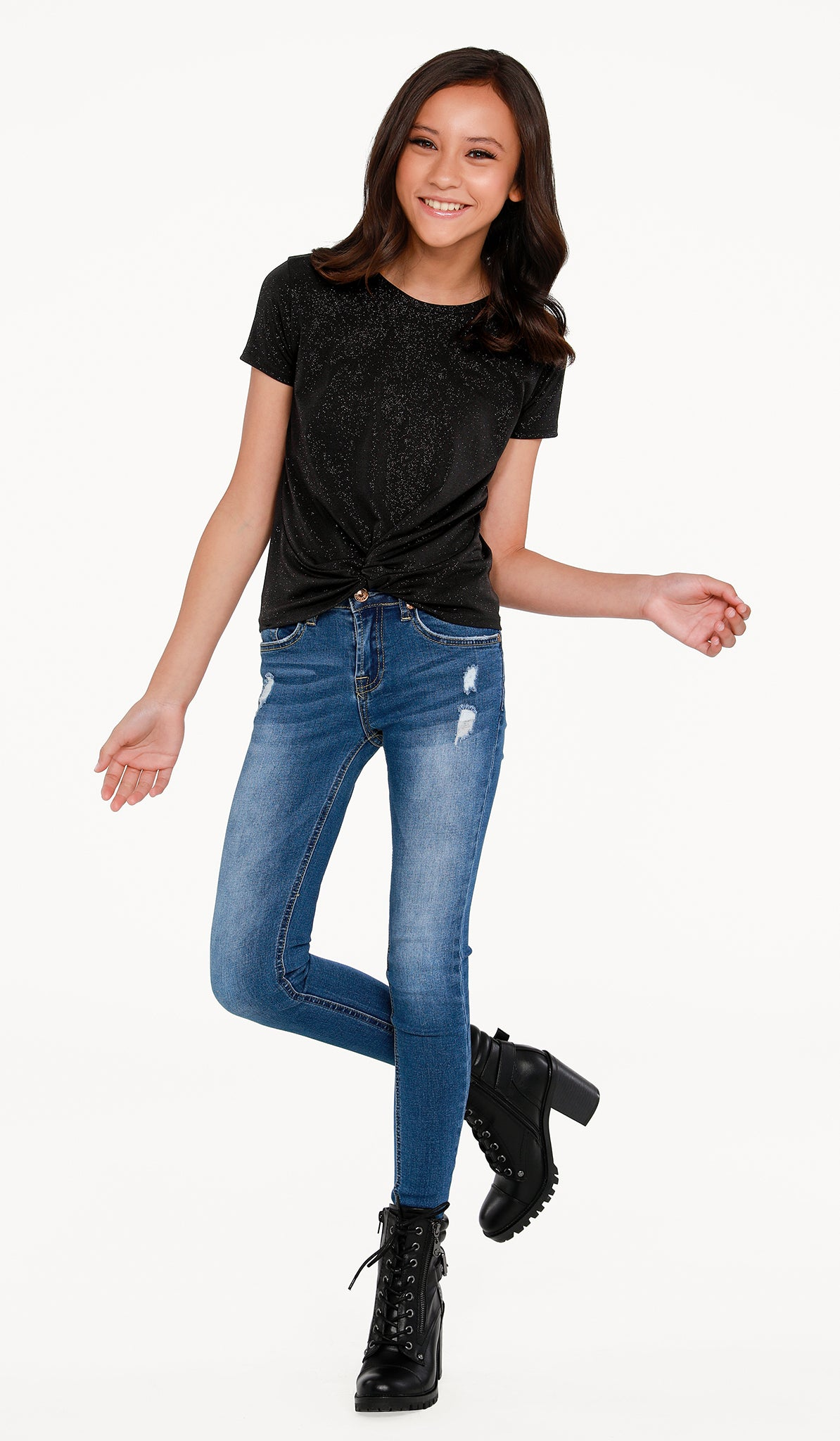 The Sally Miller Sparkle Knot Top Black | Black sparkle stretch knit knot top with cap sleeves