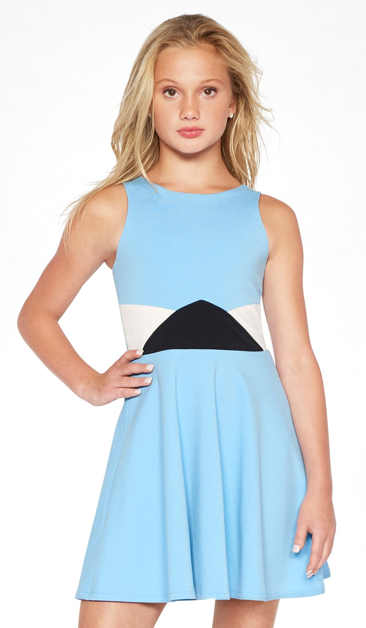 Sally Miller sky color block skater dress