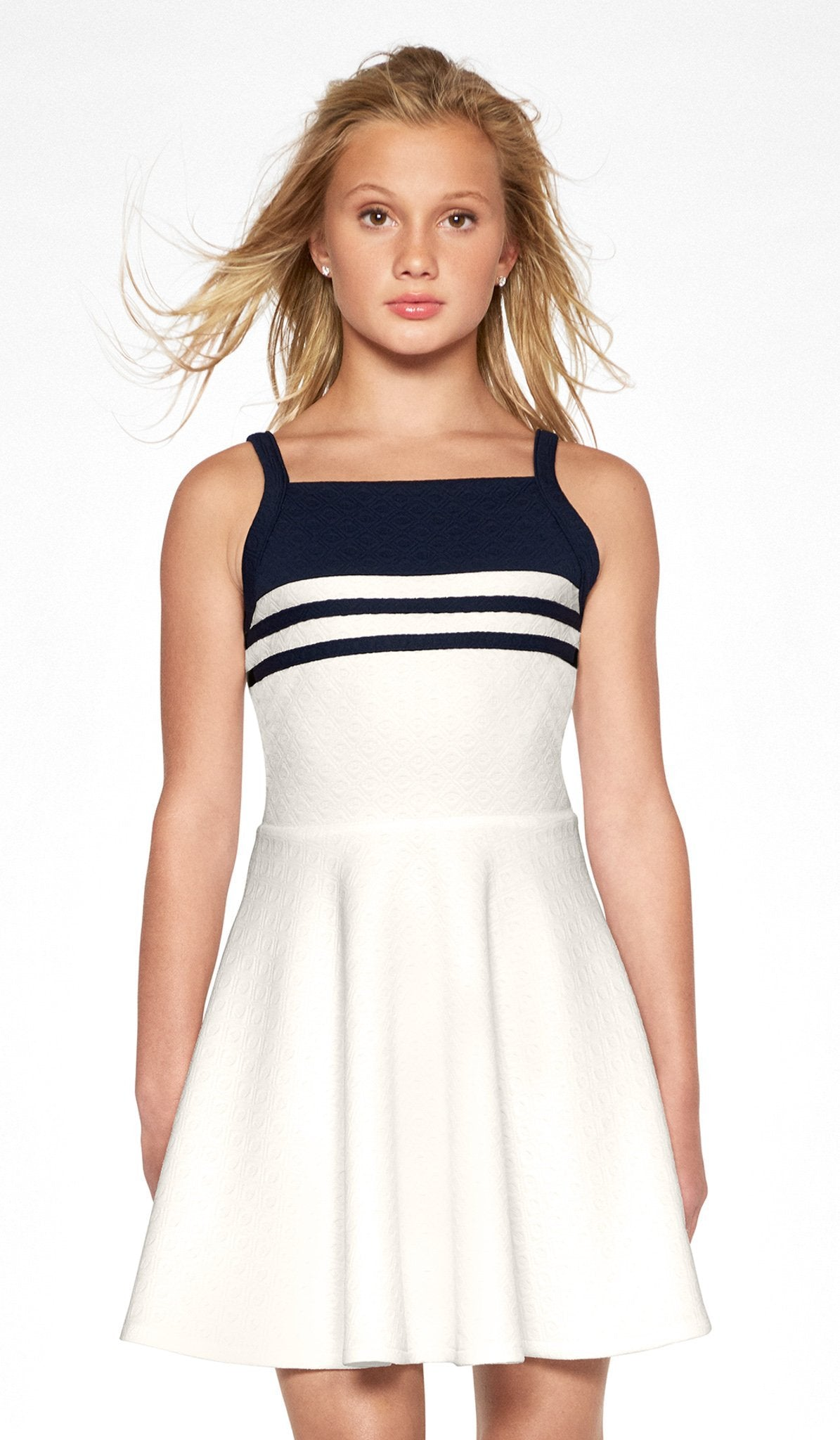 Ivory combo skater dress with navy stripe design