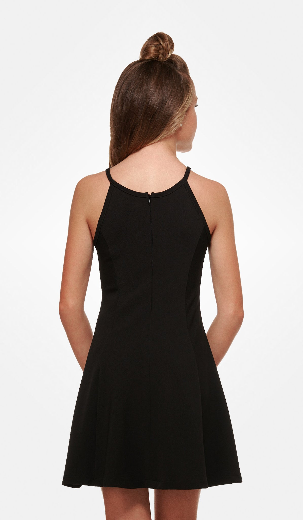 The Sally Miller Serena Dress - Black textured stretch knit fit and flare dress with zipper at back