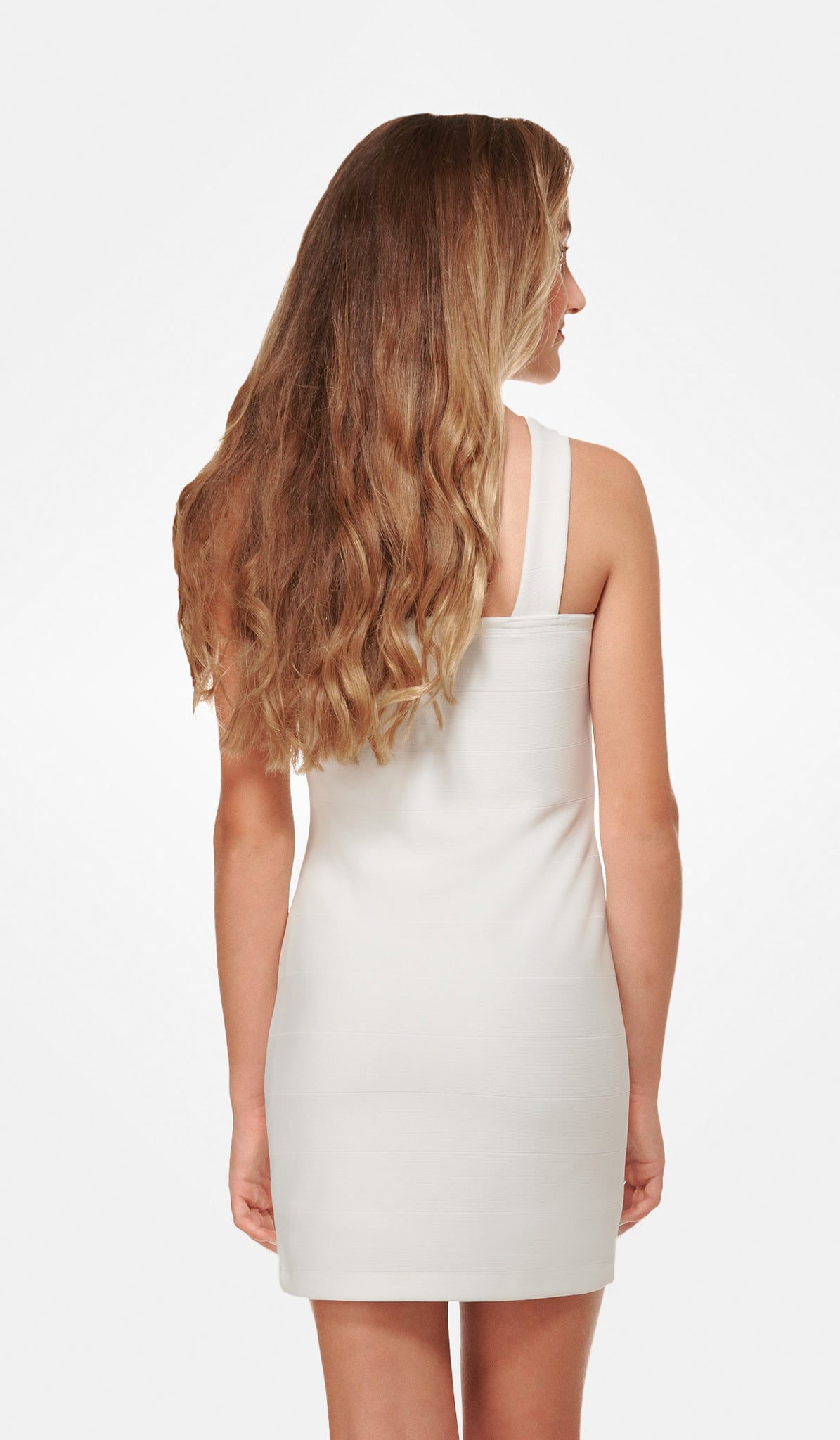 The Sally Miller Sierra Dress Juniors - Ivory textured knit bodycon v-neck fully lined dress with thick straps