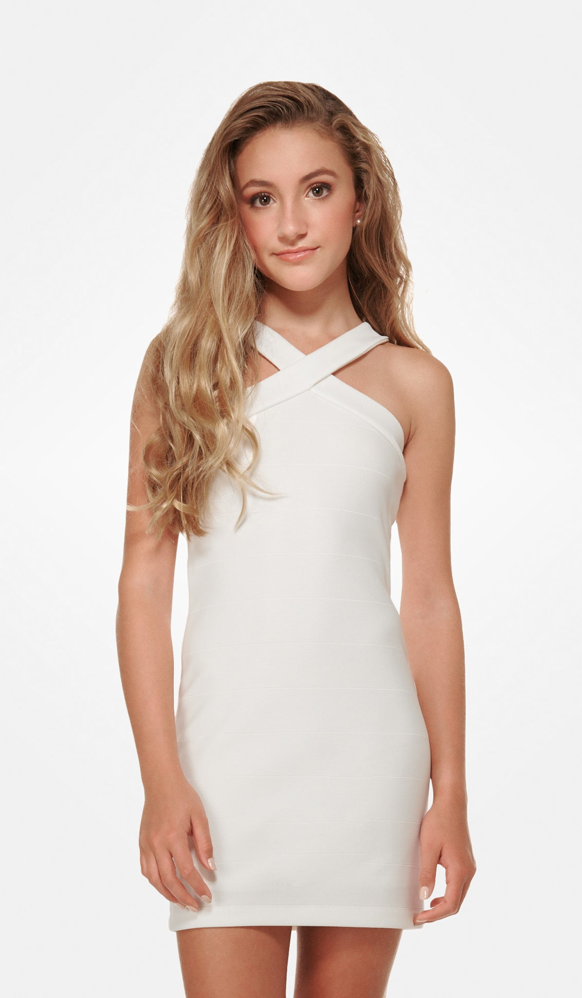 The Sally Miller Sierra Dress - Ivory textured knit bodycon v-neck fully lined dress with thick straps