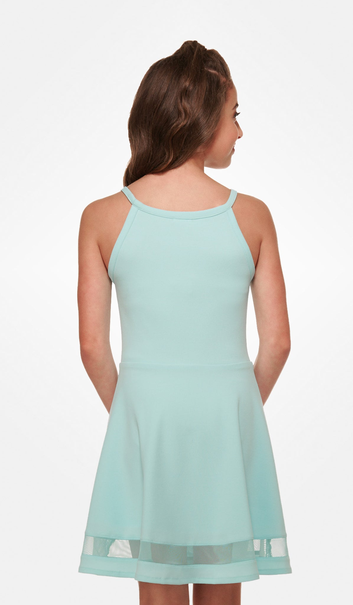 The Sally Miller Tiffany Dress - Lt. Aqua stretch crepe georgette dress fully lined with mesh illusion detail
