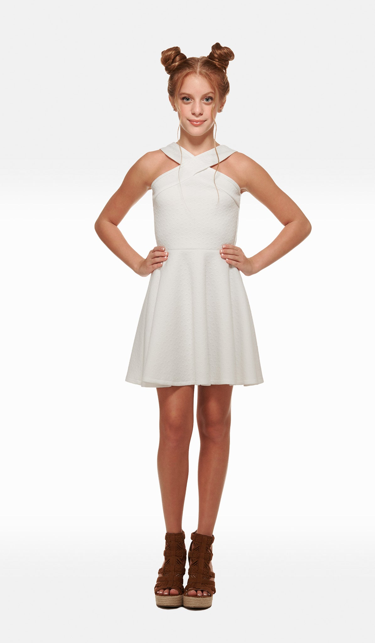 The Sally Miller Tracie Dress - Ivory diamond textured knit fit and flare dress fully lined with thick straps