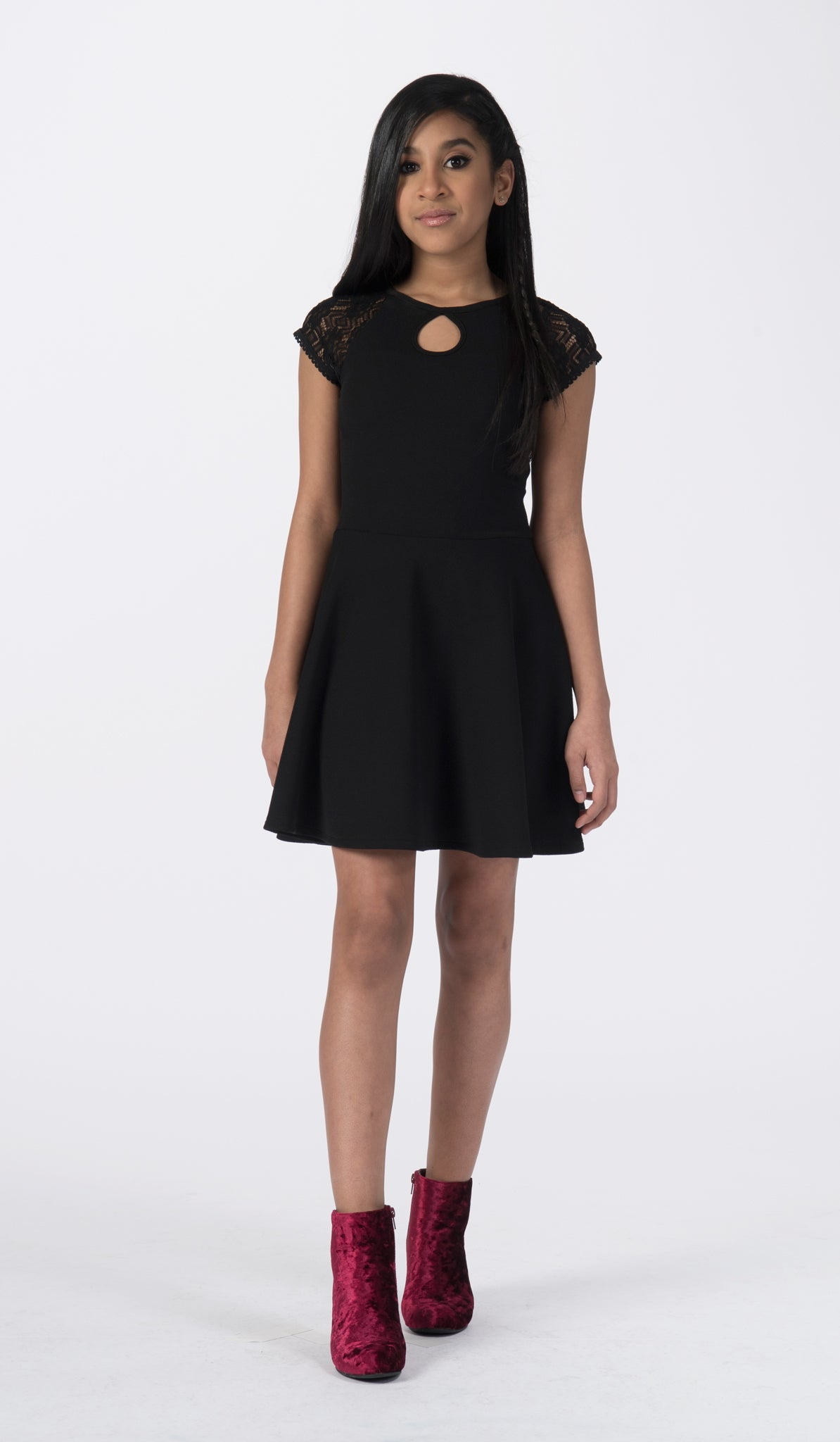 Sally Miller tween black fit and flare dress with lace cap sleeve front view