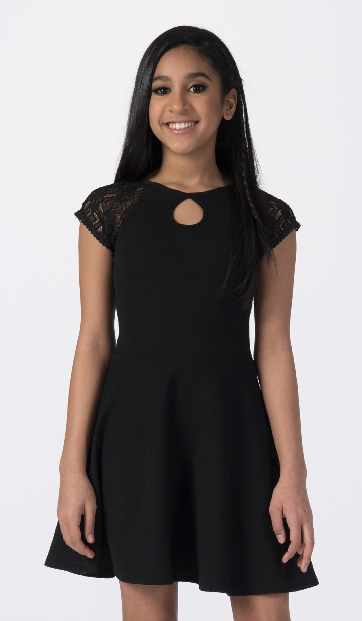 Sally Miller tween black fit and flare dress with lace cap sleeve mid view