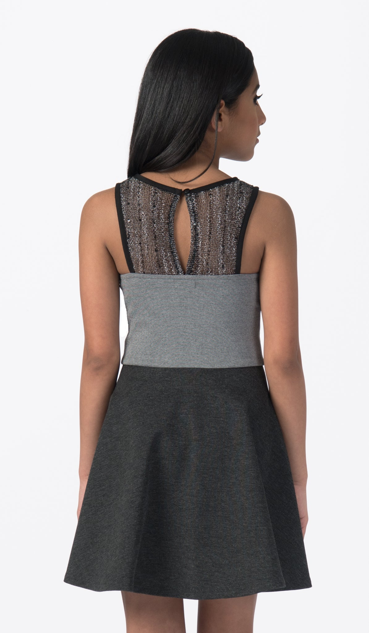 Sally Miller charcoal fit and flare special occasion dress with sequin overlay back view.