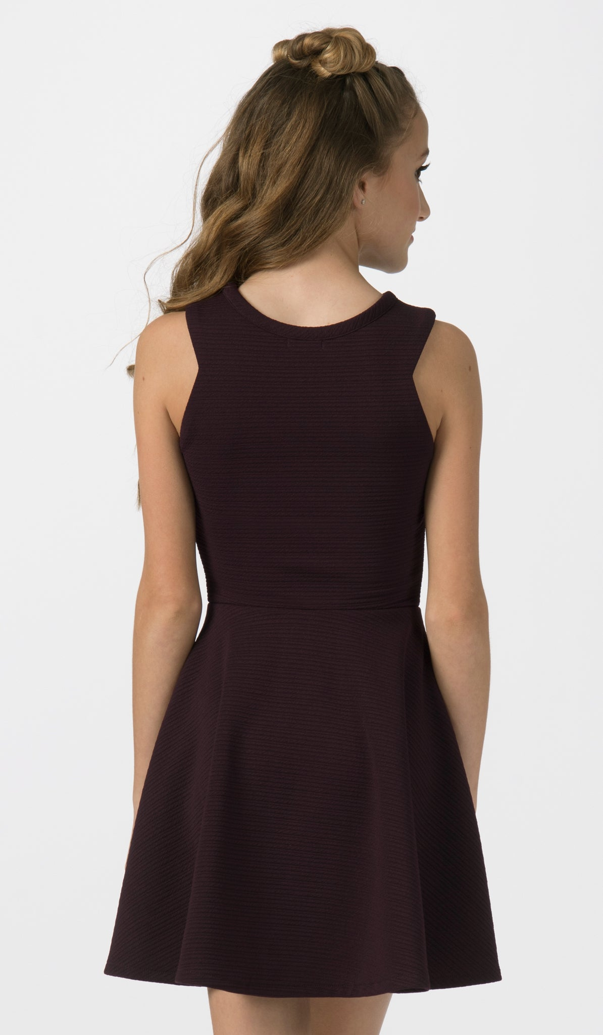 Sally Miller plum fit and flare special occasion dress back view.