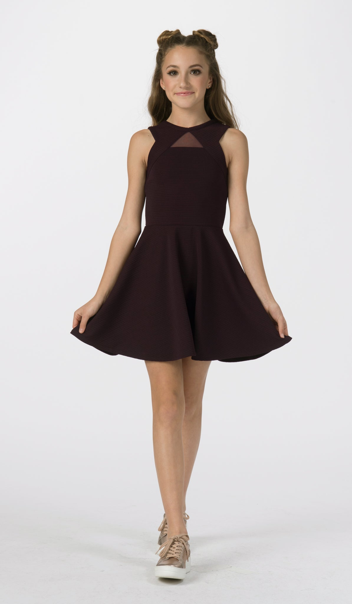 Sally Miller plum fit and flare special occasion dress front view.