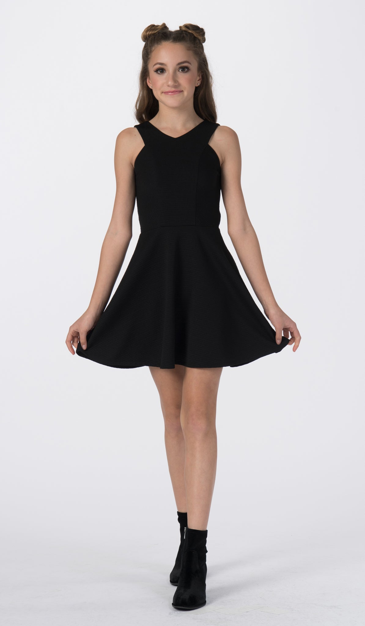 Sally Miller tween black fit and flare textured stretch knit special occasion dress front view