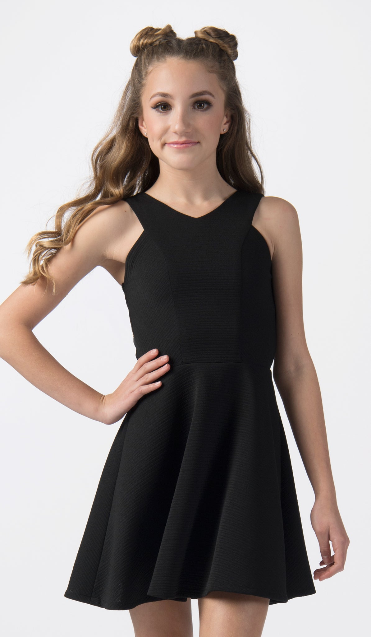 Sally Miller tween black fit and flare textured stretch knit special occasion dress mid view