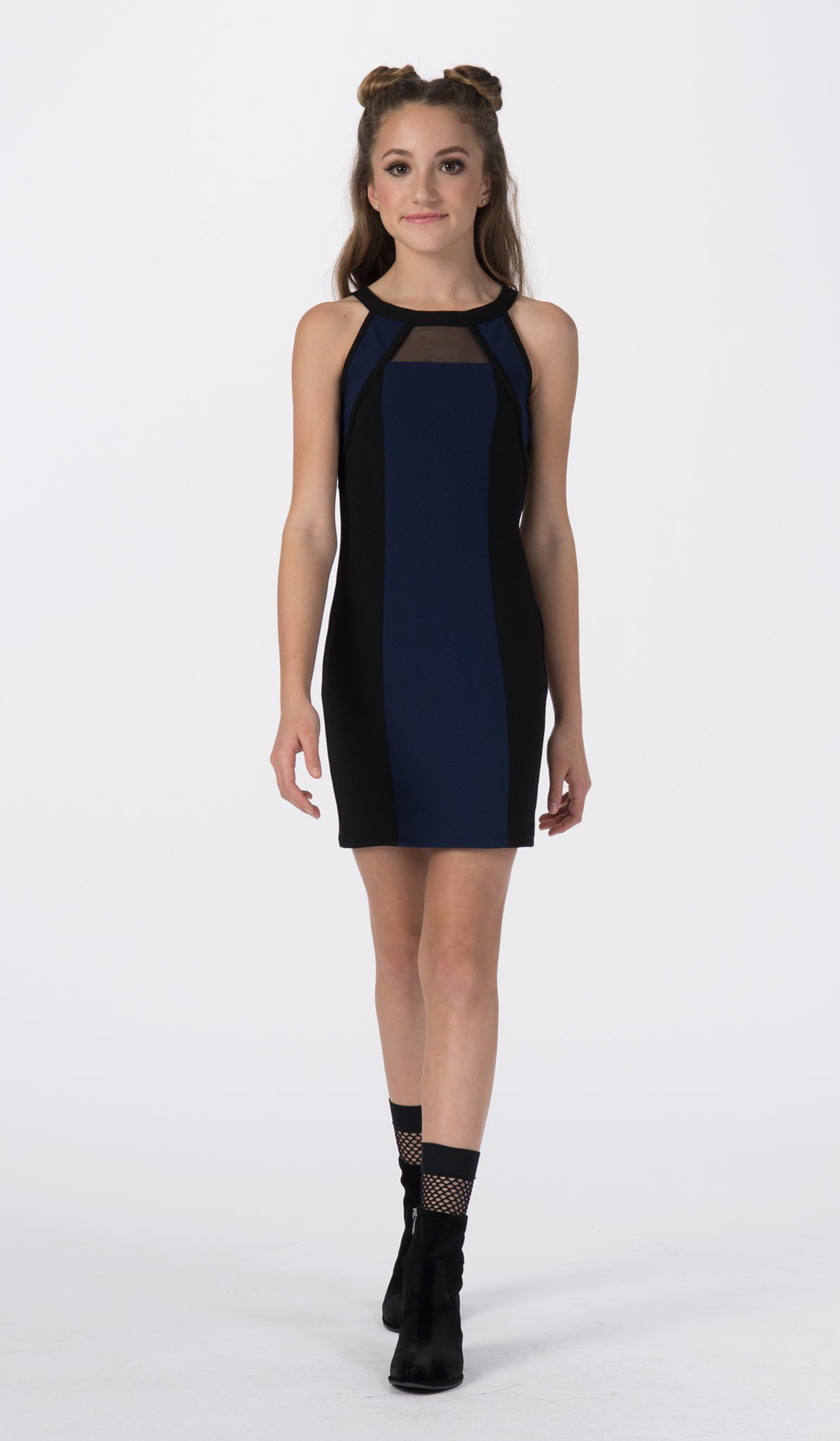 Sally Miller color block body con special occasion dress front view.