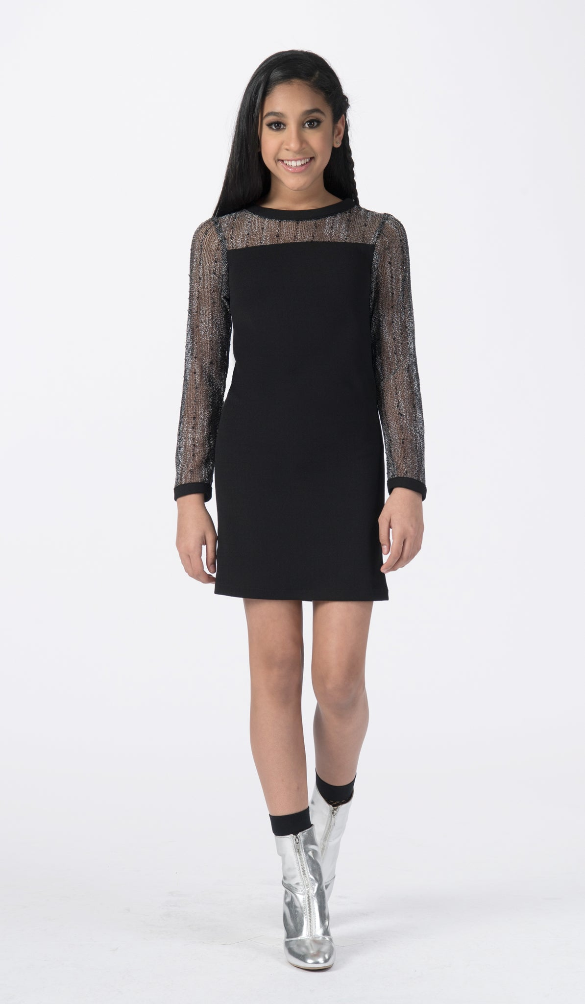 Black dress with mesh long sleeves and neckline front view