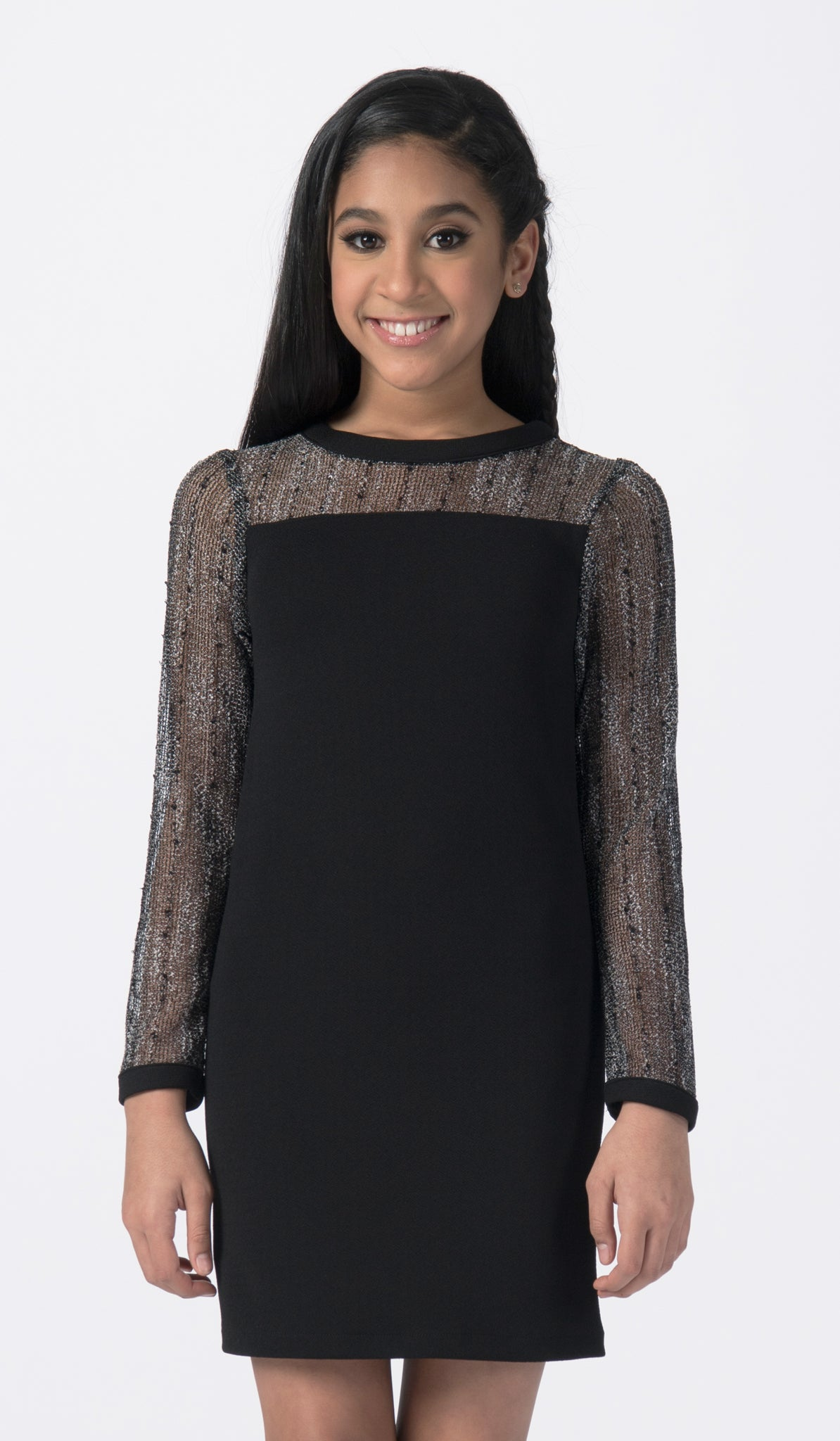 Black dress with mesh long sleeves and neckline mid view