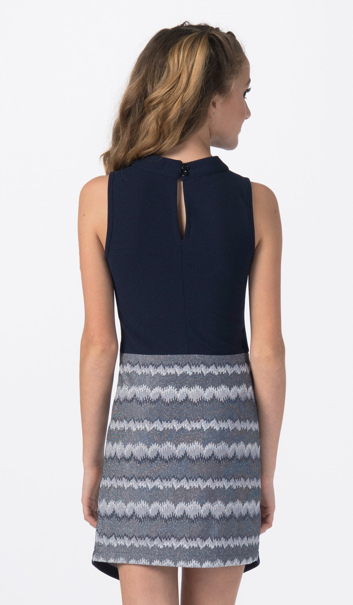 Navy and jacquard dress for special occasion back view