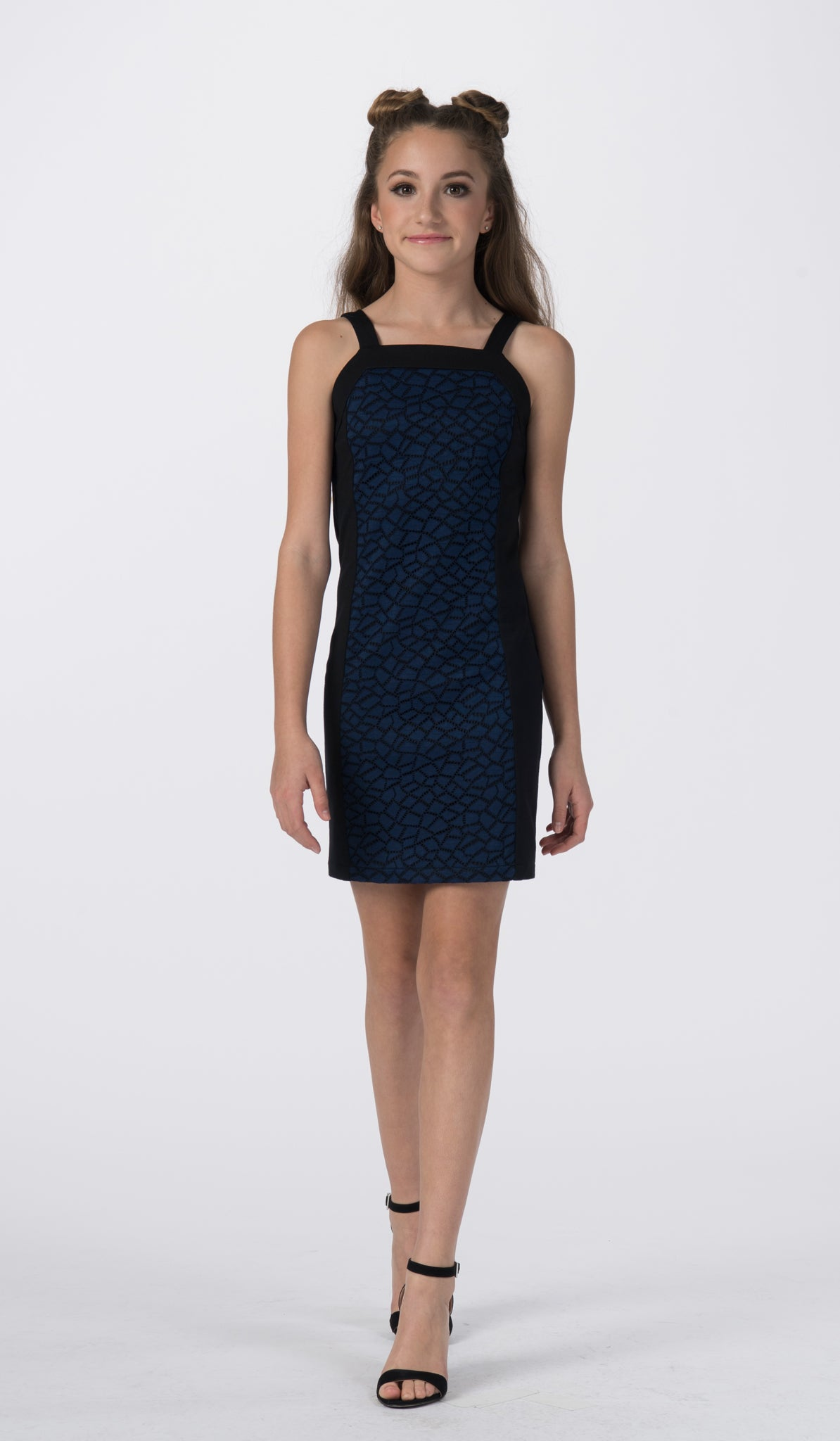 Sally Miller tween black special occasion dress with navy crochet lace front view