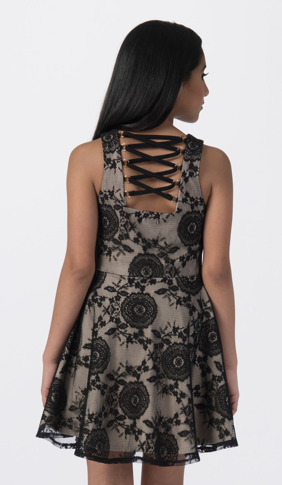 Sally Miller black lace fit and flare special occasion dress back view.