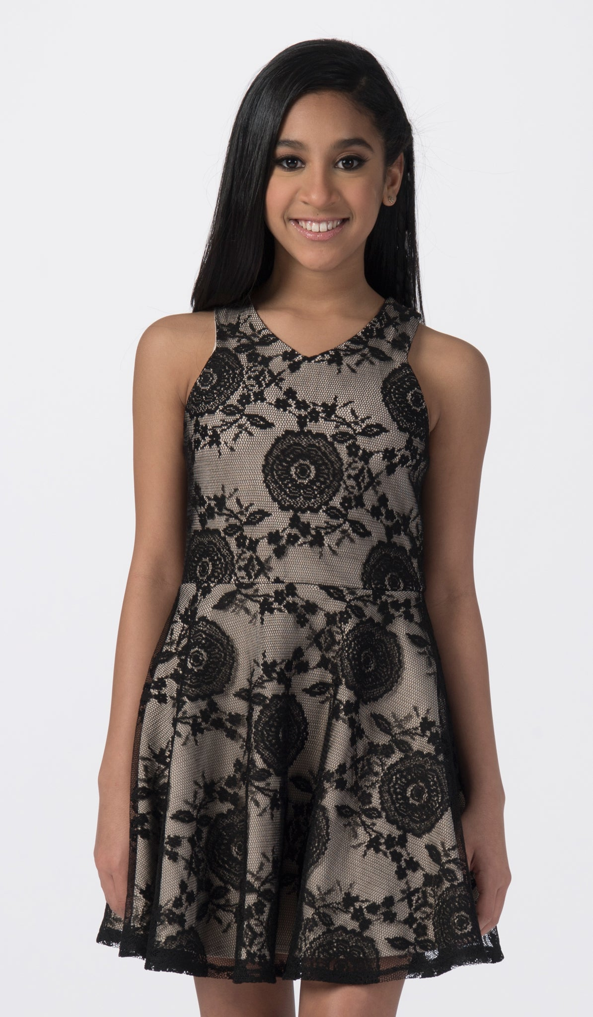 Sally Miller black lace fit and flare special occasion dress mid view.