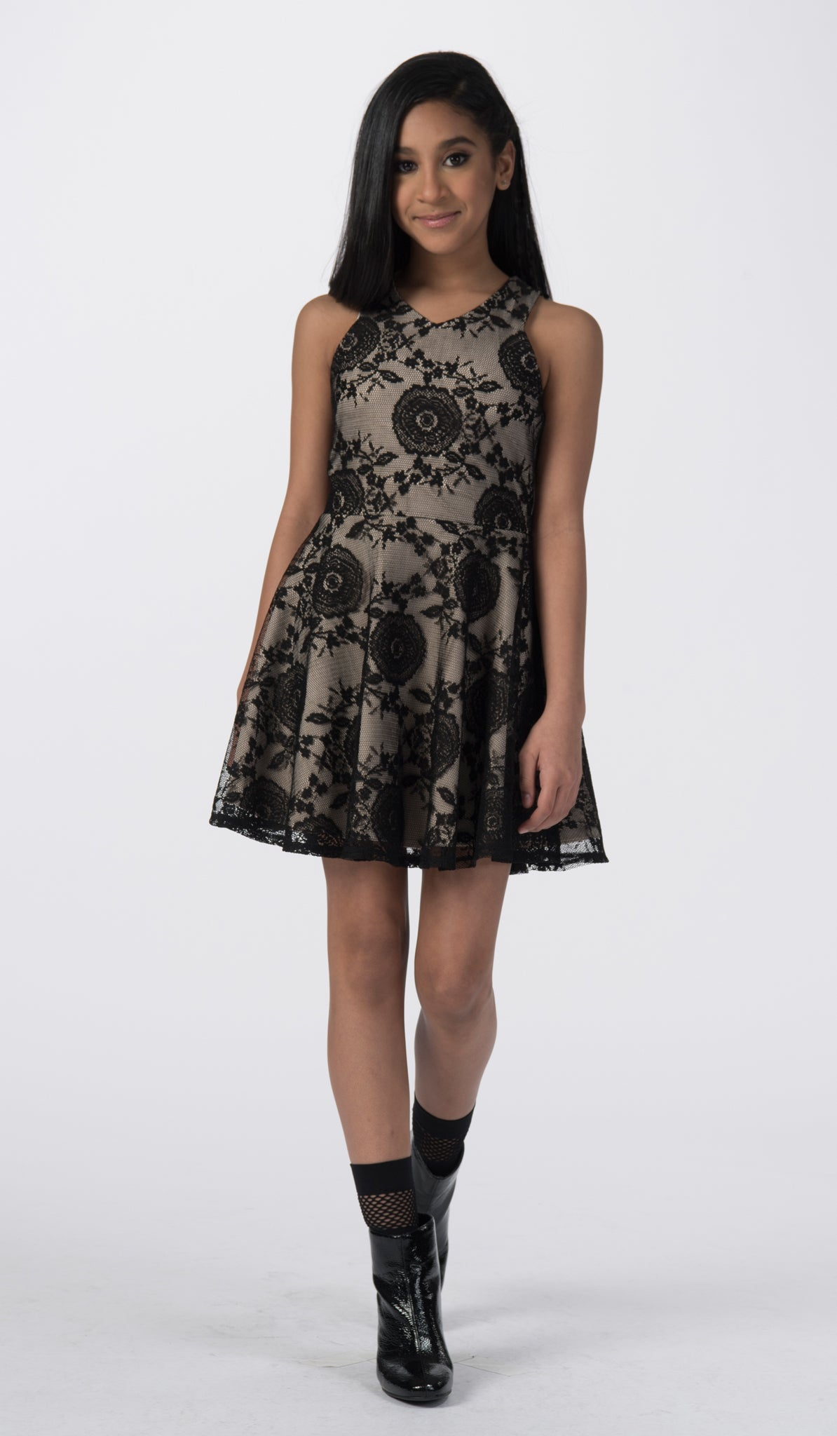 Sally Miller black lace fit and flare special occasion dress front view.