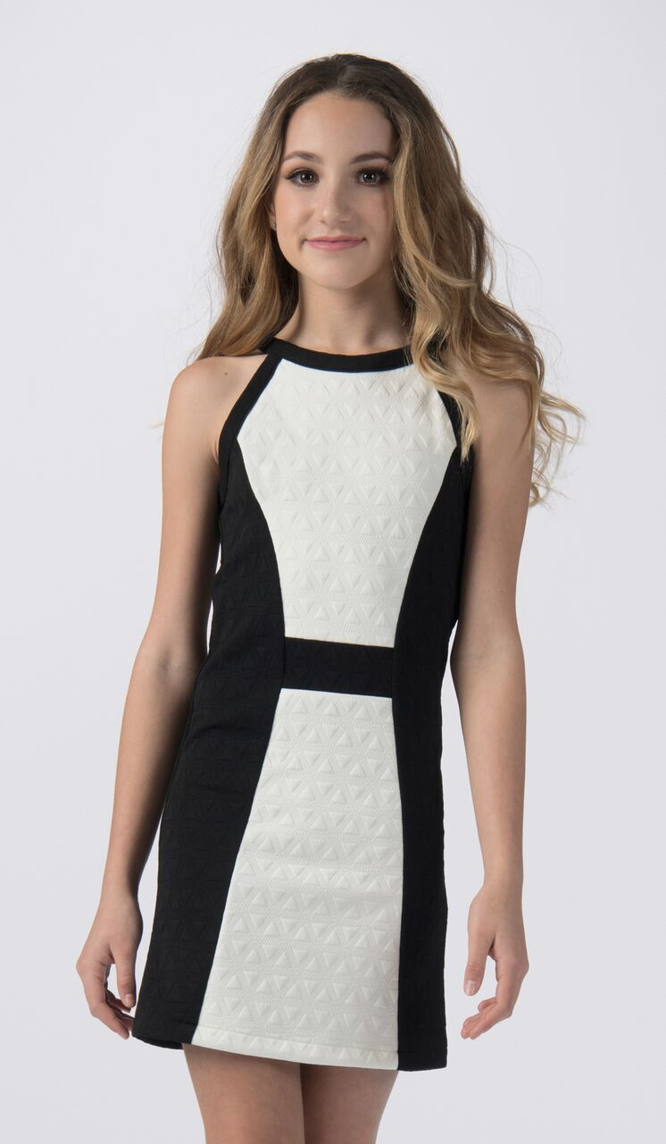 Sally Miller tween ivory and black knit shift special occasion dress mid view.