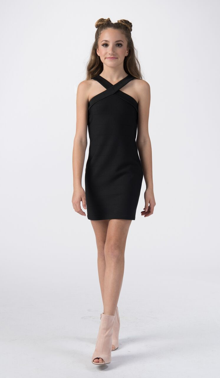 Sally Miller tween black body con knit special occasion dress.