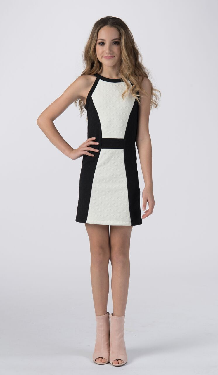 Sally Miller tween ivory and black knit shift special occasion dress front view