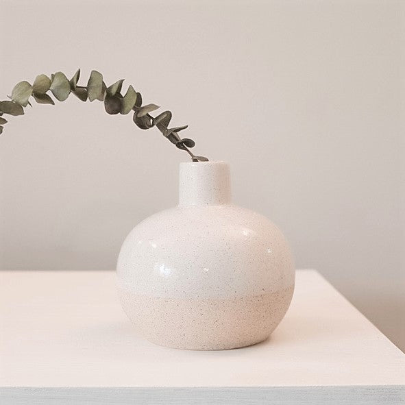Two Toned White Bulb Stoneware Bud Vase