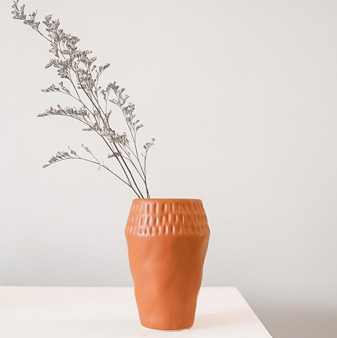 Terracotta Dimpled Top Vase